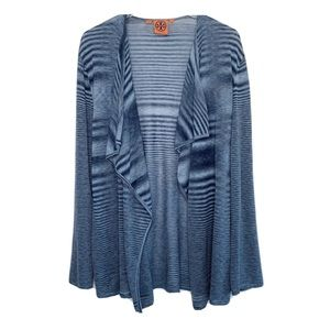 TORY BURCH Silk Open Front Blue Cardigan, Size S